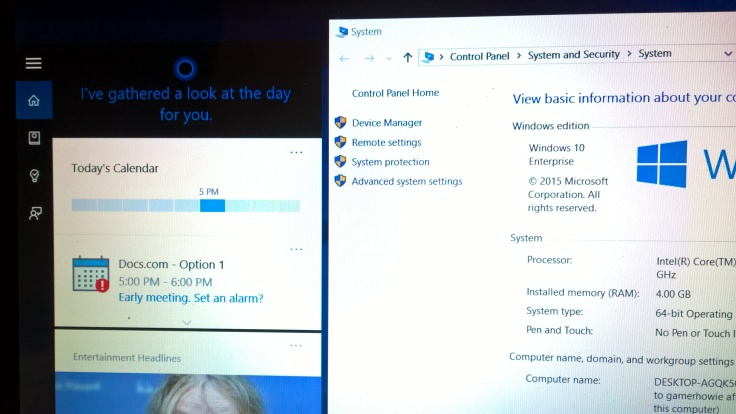 cortana on windows 10 enterprise