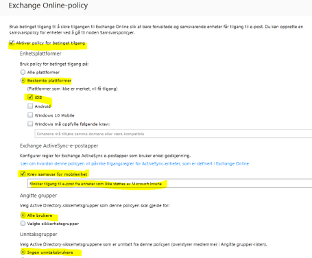 exchange online policy