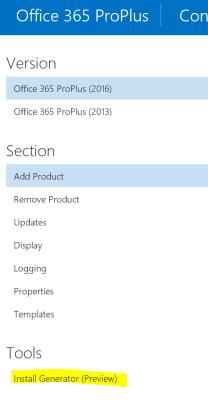 Office 365 install generator