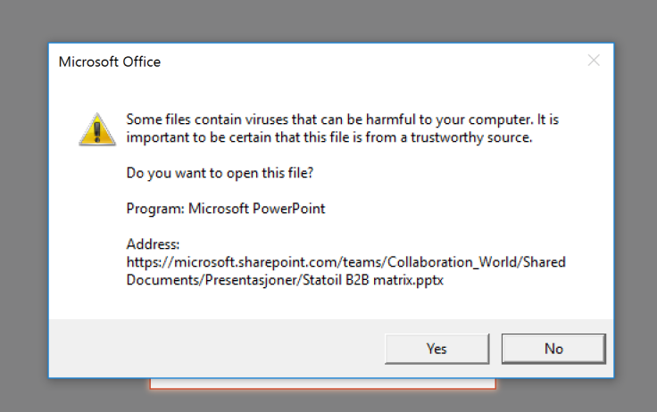 file opening prompt