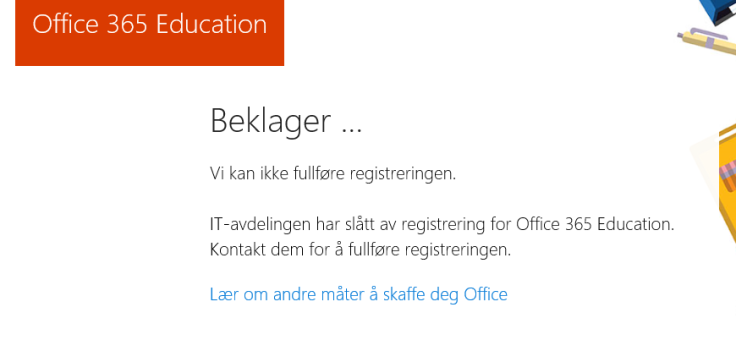 office 365 education plus declined self service