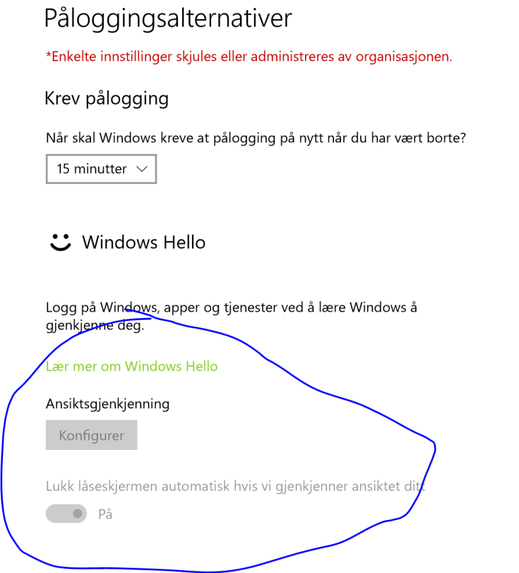 windows 10 hello disabled