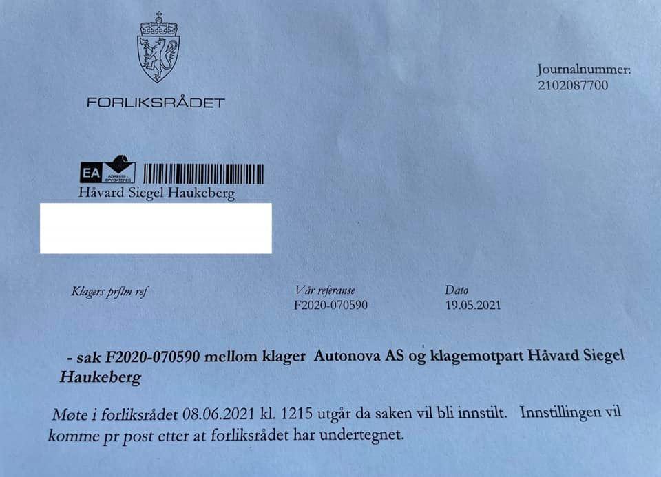 Bilde av brev fra Forliksrådet hvor de innstiller klagen til Johan Haga og Autonova.